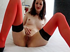 Hot red german masturbation in nylons high heels