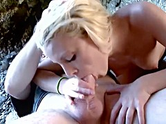 Hot blonde has sex with friend