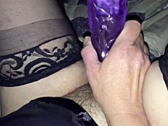 50 year old hairy wife playing with dildo