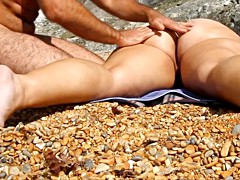 Massage wife pussy and ass at beach