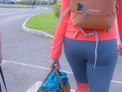 Blue spandex pants hug her sexy big ass