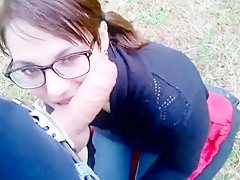 Blowjob and cum swallow in the forest.