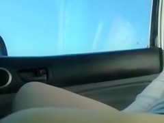 Exhibitionist Girl Flashes Pussy and Tits on Highway to Drivers