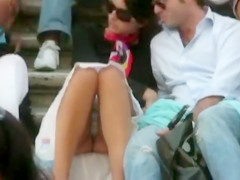 European upskirt footage with perfect panty shot
