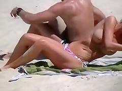 Topless Beach Girl in Small Bikini Shows Awesome Big Tits