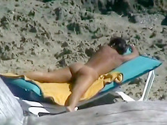 Spying at the Beach Nudist Wife Fingered in Her Pussy