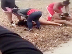 Black women fighting till bare skin