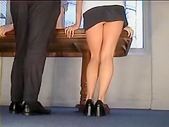 Sexy Secretary Flashing Black Mini White Panties Upskirt