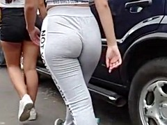 Thick latina tight grey spandex donk