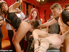19 Year Old All Natural Slut Gets Fucked In Bondage At An Elegant Party - PublicDisgrace