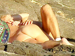 Sex on the beach mature couple secretly having sex