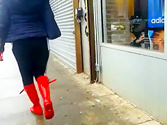 Sexy red boots walk