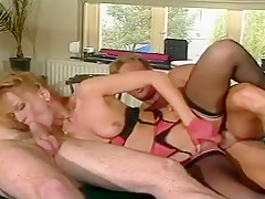 Horny Blonde Babe takes on two Big Cocks on the Billiard Table