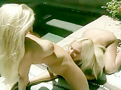 Busty Bleached Blonde Lesbians Getting Each Other Off by the Pool