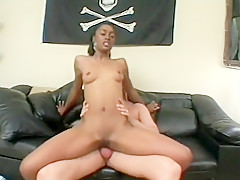 Skinny ebony babe Cashmere fucks in both holes and gets a mouthful