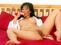 Provocative Asian mom Julie Koh reveals her body and plays with dildos