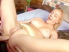 Curvy blonde hussy gets her tight holes serviced by a big cock