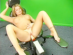 Eager blonde beauty Brooke bares her titties as she rides a machine