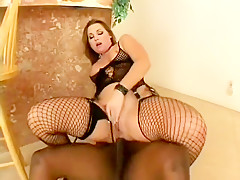Tasty ginch in fishnets Flower Tucci is nailed by angry black penis