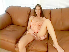Sexy slender milf blows a long dick and then gets her sweet pussy pounded hard