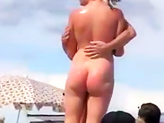 Nude beach - trophy wife showoff dogging -filmed