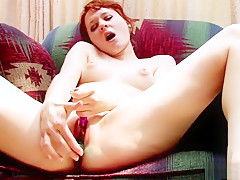 Redhead cutie Ivy Lynn finds the pleasure she seeks with two sex toys