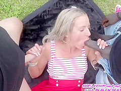 sexy kitty german outdoor milf threesome fuck with black big cock