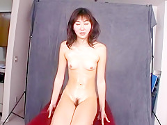 Adorable Asian chick Wakana puts her tight hairy snatch on display