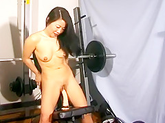 Sexy Oriental babe with a hot ass Silk Star fucks herself with a dildo