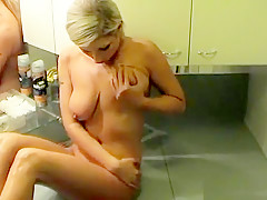 She puts on a show for her boyfriend by rubbing her body with oil