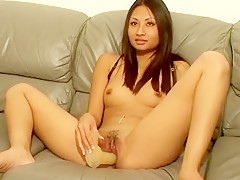Brooke Serey gets fully naked and works her tight peach on a big dildo