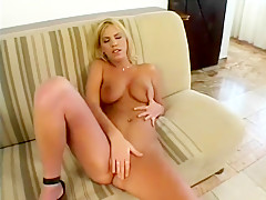 Buxom blonde has three guys filling all her holes with their big cocks