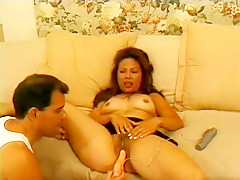 Asian slut with hairy slit plays with huge vibrating adult toy