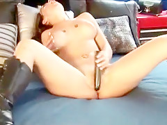 Bodacious blonde can't get enough of a big dildo drilling her snatch