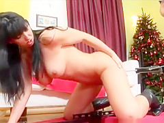 Dark-haired eye candy gets undressed and shows off her lovely tits