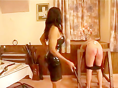 EBONY GODDESS punishes incompetent pale slave w/FOOT-FEEDING piss&whipping