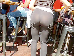 American girl in see through leggings