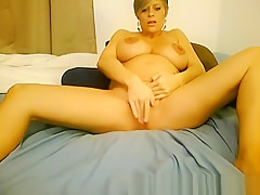 Hot PREGNANT blonde masturbates on webcam