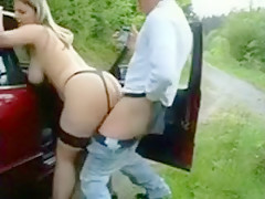 Horny man and his blonde girl fucking near public road