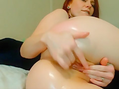 3:30 Delicious Olied Ass Shaved Pussy Anal Masturbation