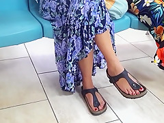 candid girl sexy long feets hot red toes